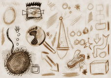 Hand drawn doodle old grunge design elements Stock Photos