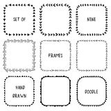 Hand drawn doodle ornamental frames. Vector Stock Images