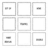 Hand drawn doodle ornamental frames. Vector Stock Photos