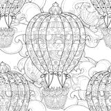 Hand drawn doodle outline  air baloon in flight Royalty Free Stock Images