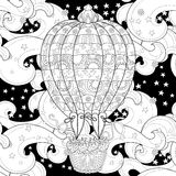 Hand drawn doodle outline  air baloon in flight Stock Photography