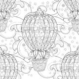 Hand drawn doodle outline  air baloon in flight Royalty Free Stock Image