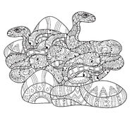 Hand drawn doodle outline anaconda. Stock Photo