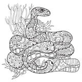 Hand drawn doodle outline anaconda. Stock Photography