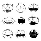 Hand drawn Doodle Outline Cartoon Monster Faces with Teeth Fun Collection. Linear style people icon set. Cartoon style, different characters and personalities Stock Photos