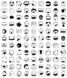 Hand drawn Doodle Outline Cartoon Monster People Animals Faces Fun Collection. Outline style people animal monsters icons set. Cartoon style, different Royalty Free Stock Photos