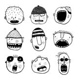 Hand drawn Doodle Outline Cartoon People Faces Set Stock Images