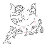 Hand drawn doodle outline cat. With fish decorated with ornaments.Vector zen art illustration.Floral ornament.Sketch for tattoo or coloring pages.Boho style Royalty Free Stock Photography
