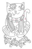 Hand drawn doodle outline cat. With fish decorated with ornaments.Vector zen art illustration.Floral ornament.Sketch for tattoo or coloring pages.Boho style Stock Photography
