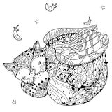 Hand drawn doodle outline cat sleeping Royalty Free Stock Photography