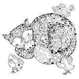 Hand drawn doodle outline cat sleeping Royalty Free Stock Photo