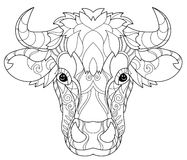 Hand drawn doodle outline cow head Royalty Free Stock Image