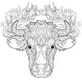 Hand drawn doodle outline cow head Stock Photo