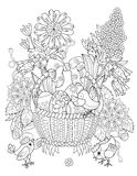 Hand drawn doodle outline easter eggs in basket. With chiken decorated with ornaments.Vector zentangle illustration.Floral ornament.Sketch for adult coloring Royalty Free Stock Photography