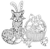 Hand drawn doodle outline easter eggs in basket. With chiken and fox decorated with ornaments.Vector zentangle illustration.Floral ornament.Sketch for adult Stock Image