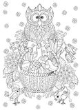 Hand drawn doodle outline easter eggs in basket. With chiken and owl decorated with ornaments.Vector zentangle illustration.Floral ornament.Sketch for adult Stock Photos