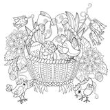Hand drawn doodle outline easter eggs in basket. With decorated with ornaments.Vector Royalty Free Stock Image