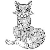 Hand drawn doodle outline fox boho sketch Royalty Free Stock Photos