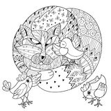 Hand drawn doodle outline fox sleeping with chicken Royalty Free Stock Photo