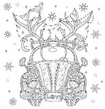 Hand drawn doodle outline holiday car Royalty Free Stock Photos