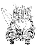 Hand drawn doodle outline holiday car Royalty Free Stock Images