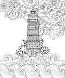 Hand drawn doodle outline lighthouse boho Royalty Free Stock Photos