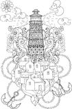Hand drawn doodle outline lighthouse boho Royalty Free Stock Photo