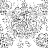 Hand drawn doodle outline lion in circus. Hand drawn doodle outline lion circus seamless pattern.Vector illustration.Floral ornament.Sketch for tattoo or Stock Photo