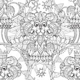 Hand drawn doodle outline lion in circus. Hand drawn doodle outline lion circus seamless pattern.Vector illustration.Floral ornament.Sketch for tattoo or Royalty Free Stock Photography