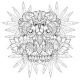 Hand drawn doodle outline lion Royalty Free Stock Photos