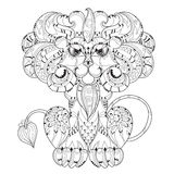 Hand drawn doodle outline lion sleeping Royalty Free Stock Image