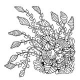 Hand drawn doodle outline magic line art element with floral ornament. Sketch for poster, adult coloring pages. Stock Image