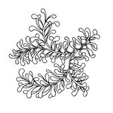 Hand drawn doodle outline magic line art element with floral ornament. Sketch for poster, adult coloring pages. Stock Photo
