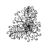 Hand drawn doodle outline magic line art element with floral ornament. Sketch for poster, adult coloring pages. Royalty Free Stock Images