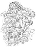 Hand drawn doodle outline magic mushrooms Stock Photo