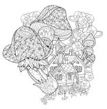 Hand drawn doodle outline magic mushrooms Royalty Free Stock Photo