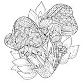 Hand drawn doodle outline magic mushrooms Stock Image