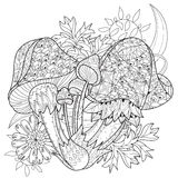 Hand drawn doodle outline magic mushrooms Royalty Free Stock Photography