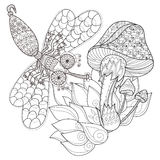 Hand drawn doodle outline magic mushrooms Stock Photos