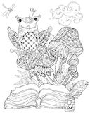 Hand drawn doodle outline mushrooms and frog royalty free illustration