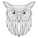 Hand drawn doodle outline owl illustration. Decorative in African indian totem Ethnic tribal aztec design. Sketch for adult antistress coloring page stock illustration