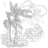 Hand drawn doodle outline palm tree Royalty Free Stock Images
