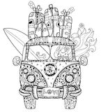 Hand drawn doodle outline retro bus travel. Decorated with ornaments front view..Vector zentangle illustration.Floral ornament.Sketch for tattoo or coloring Stock Images
