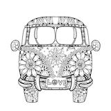 Hand drawn doodle outline retro bus travel Stock Images