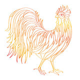 Hand drawn doodle outline rooster illustration. Decorative in African indian totem Ethnic tribal aztec design. Sketch for adult antistress coloring page stock illustration