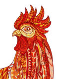Hand drawn doodle outline rooster illustration. Patterned fiery on the white background. Symbol of chinese new year 2017 Royalty Free Stock Photos