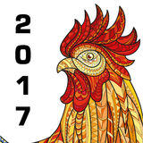 Hand drawn doodle outline rooster illustration. Patterned fiery on the white background. Symbol of chinese new year 2017 Royalty Free Stock Photography