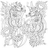 Hand drawn doodle outline seahorse. Decorated with ornaments.Vector zentangle illustration.Floral ornament.Sketch for tattoo or coloring pages.Boho style Stock Photography