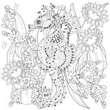 Hand drawn doodle outline seahorse. Decorated with ornaments.Vector zentangle illustration.Floral ornament.Sketch for tattoo or coloring pages.Boho style Stock Images