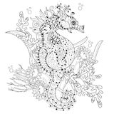Hand drawn doodle outline seahorse Stock Photography